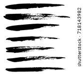 ink vector brush strokes set.... | Shutterstock .eps vector #718143982