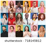 the collage from portraits of... | Shutterstock . vector #718145812