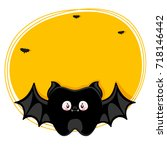 cute tooth  black bat ... | Shutterstock .eps vector #718146442