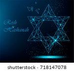 rosh hashanah greeting card... | Shutterstock . vector #718147078