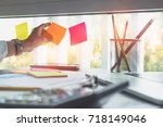 sticky note paper reminder... | Shutterstock . vector #718149046