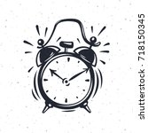 Hand Drawn Alarm Clock Isolate...