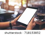 mockup image of hands holding...   Shutterstock . vector #718153852