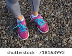 pink sports shoes of woman on... | Shutterstock . vector #718163992