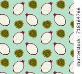 tropical fruits pattern with... | Shutterstock .eps vector #718164766