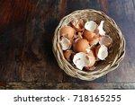 Flat Lay Of Broken Egg Shell In ...