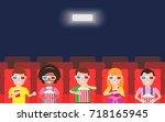 happy children watching  movie...   Shutterstock .eps vector #718165945