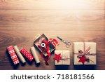 beautiful retro christmas gift... | Shutterstock . vector #718181566