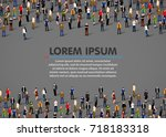 large group of people on dark... | Shutterstock .eps vector #718183318