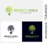 brunch idea logo concept  logo... | Shutterstock .eps vector #718184602