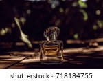 natural perfume  bottle on... | Shutterstock . vector #718184755