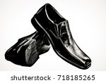leather shoes with a white... | Shutterstock . vector #718185265