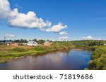 summer landscape with river and ... | Shutterstock . vector #71819686
