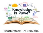 knowledge is power  text with... | Shutterstock . vector #718202506
