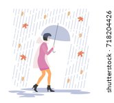 rainy day umbrella  man  vector ... | Shutterstock .eps vector #718204426