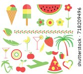 symbol and food in three color... | Shutterstock .eps vector #718209496