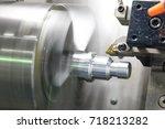 cnc lathe machine  turning... | Shutterstock . vector #718213282