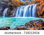 seasons of leaves change color... | Shutterstock . vector #718213426