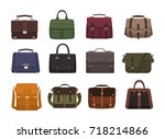 bundle of trendy men's handbags ... | Shutterstock .eps vector #718214866