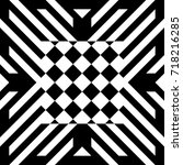abstract tile with black white... | Shutterstock .eps vector #718216285