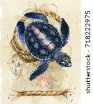 Watercolor Sea Turtle. Vintage...