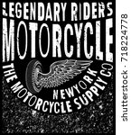 vintage motorcycle. hand drawn... | Shutterstock .eps vector #718224778