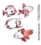 decorative fishes silhouette.... | Shutterstock .eps vector #718225006
