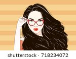 pop art vintage advertising... | Shutterstock .eps vector #718234072