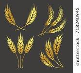 abstract golden color logo ... | Shutterstock . vector #718240942