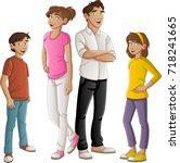 colorful happy people. cartoon... | Shutterstock .eps vector #718241665