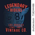 vintage style tee print design... | Shutterstock .eps vector #718244488