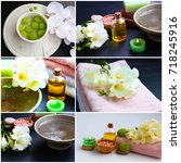 spa collage with flowers  bath... | Shutterstock . vector #718245916