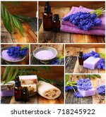 spa collage with flowers  bath... | Shutterstock . vector #718245922