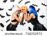 picture of two emotional young... | Shutterstock . vector #718252972