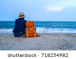 traveler with backpack and...   Shutterstock . vector #718254982