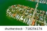 venetian islands  miami beach ...   Shutterstock . vector #718256176