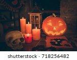 halloween creepy feast...   Shutterstock . vector #718256482