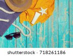 summer holiday background with...   Shutterstock . vector #718261186