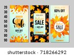 set of autumn sale flyer... | Shutterstock .eps vector #718266292