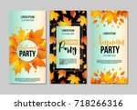 set of autumn party flyer... | Shutterstock .eps vector #718266316