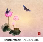 big butterflies and lotus... | Shutterstock .eps vector #718271686