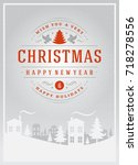 christmas greeting card or... | Shutterstock .eps vector #718278556