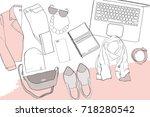 vector illustration of hand... | Shutterstock .eps vector #718280542