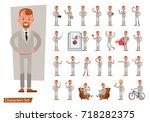 set of businessman character... | Shutterstock .eps vector #718282375