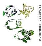 decorative fishes silhouette.... | Shutterstock . vector #718284766