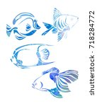 decorative fishes silhouette.... | Shutterstock . vector #718284772