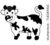 a cartoon cow. funny smiling... | Shutterstock .eps vector #718285402