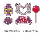 vector set of fashion patches ... | Shutterstock .eps vector #718287526