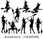 silhouettes of halloween... | Shutterstock .eps vector #718289488
