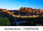 night old medieval ragusa ibla... | Shutterstock . vector #718294246